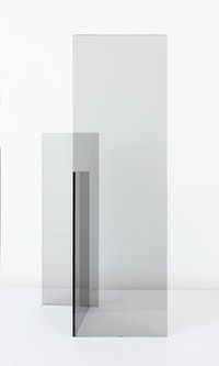 Raquel Rabinovich, <em>Tabletop Glass Sculpture (Untitled 1)</em>, 1974. Grey plate glass and silicone adhesive, 38 x 18 x 10 inches.