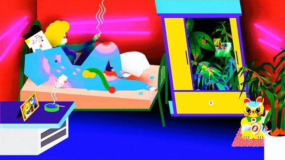 Wong Ping, <em>Jungle of Desire</em>, 2015. Single-channel video, sound, color; 6:50 min. Courtesy the artist; Edouard Malingue Gallery, Hong Kong / Shanghai; and Tanya Bonakdar Gallery, New York / Los Angeles.