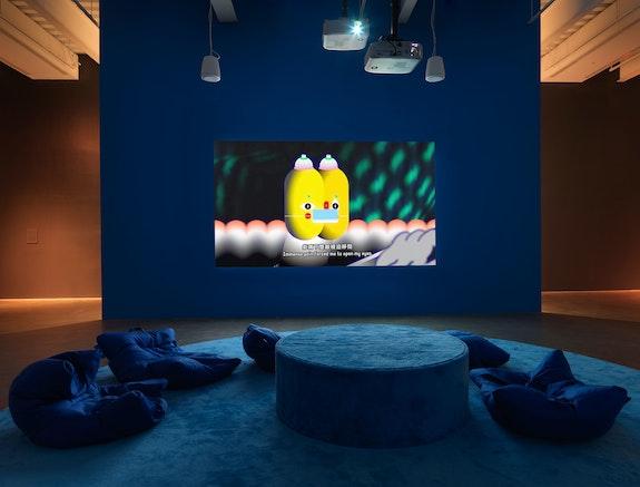 Installation view: Wong Ping; <em>Your Silent Neighbor</em>, New Museum, New York, 2021. Photo: Dario Lasagni.