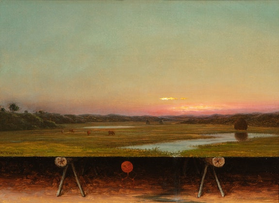 Martin Johnson Heade, <em>Gremlin in the Studio, I</em>, c. 1871–75. Oil on canvas, 9 7/8 x 13 3/4 inches. Collection of Dr and Mrs. Harold Krug, Dallas, TX.