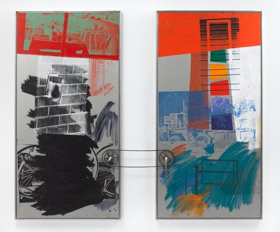 Robert Rauschenberg, <em>Climb (Urban Bourbon)</em>, 1993. Acrylic on stainless steel with steel and rubber, 98 x 116 x 10 inches. © 2021 Robert Rauschenberg Foundation / Artists Rights Society (ARS), New York.