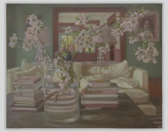 Matvey Levenstein, <em>Orient Interior</em>, 2021. Oil on wood, 8 x 10 inches. Courtesy the artist and Kasmin Gallery.
