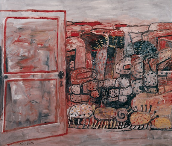 Philip Guston, <em>Entrance</em>, 1979. Oil on canvas, 68 x 80 inches. © The Estate of Philip Guston. Courtesy Hauser & Wirth. Photo: Genevieve Hanson.
