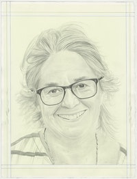Portrait of Tacita Dean, pencil on paper by Phong H. Bui.