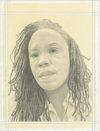 Portrait of Tomashi Jackson, pencil on paper by Phong H. Bui.