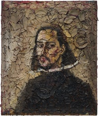 Julian Schnabel, <em>Number 1 (Velazquez Self-Portrait, Cy)</em>, 2019. Oil, plates and bondo on wood, 72 x 60 inches. Courtesy Pace Gallery.