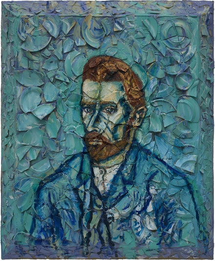 Julian Schnabel, <em>Number 2 (Van Gogh Self-Portrait Musée d'Orsay, Willem)</em>, 2019. Oil, plates and bondo on wood, 72 x 60 inches. Courtesy  Pace Gallery.