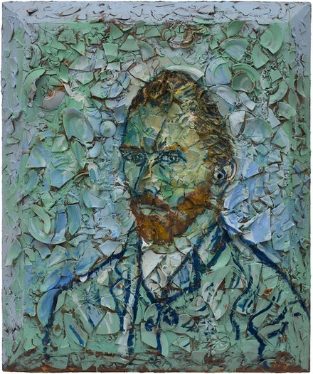 Julian Schnabel, <em>Number 5 (Van Gogh Self-Portrait Musée d'Orsay, Vincent)</em>, 2019. Oil, plates and bondo on wood, 72 x 60 inches. Courtesy The Brant Foundation, Greenwich, CT.