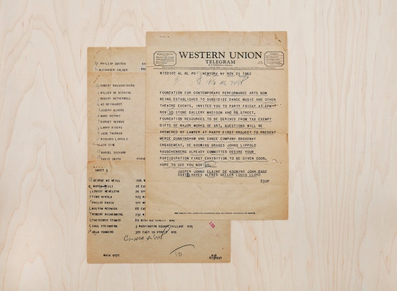 Detail of Western Union telegram, partial list of artists who received telegram invitations from Foundation for Contemporary Performance Arts to a party at Allan Stone Gallery to announce the formation of the Foundation, November 26, 1962. Courtesy Foundation for Contemporary Arts.