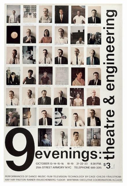 <em>Poster for 9 Evenings: Theatre & Engineering</em>, 1966. Design by Robert Rauschenberg. © Robert Rauschenberg Foundation.