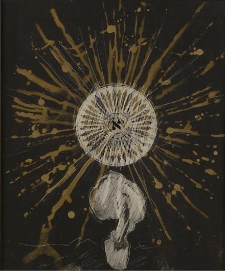 Wallace Berman, <em>Untitled (Mandala with Aleph Center, Mushroom Below)</em>, c. 1965. Negative verifax collage, 10 x 8.5 inches. Courtesy TOTAH.