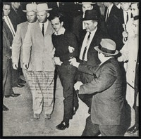 Wallace Berman, <em>Untitled (Jack Ruby)</em>, 1964. Photograph with hand written poem, 28.5 x 29 inches. Courtesy TOTAH.