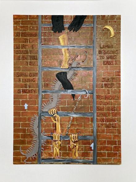 Liz Ahn, <em>fire escape</em>, 2021. Oil, foam, epoxy putty on canvas, 68 x 48 inches. Courtesy Backyard Ghost.