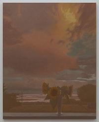 Matvey Levenstein, <em>Sunflowers</em>, 2021. Oil on linen, 55 x 44 inches. Courtesy the artist and Kasmin Gallery.