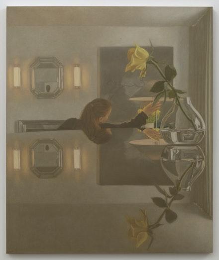 Matvey Levenstein, <em>Mirror</em>, 2021. Oil on linen, 48 x 40 inches. Courtesy the artist and Kasmin Gallery.