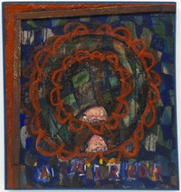 Elizabeth Murray, <em>A Mirror</em>, 1963-64. Oil on canvas with shard of glass in artist's hand painted frame, 33 1/4 x 31 x 1 1/4 inches. © The Murray-Holman Family Trust / Artists Rights Society (ARS), New York.