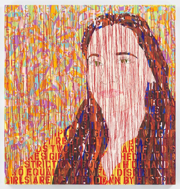 Ghada Amer, <em>Portrait of Nora</em>, 2021. Acrylic, embroidery, and gel medium on canvas 50 1/4 x 48 inches. Courtesy the artist and Marianne Boesky Gallery, New York and Aspen. © Ghada Amer. Photo: Christopher Burke Studios.