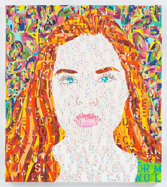 Ghada Amer, <em>Portrait of Hannah</em>, 2021. Acrylic, embroidery, and gel medium on canvas, 42 1/8 x 37 1/4 inches. Transcription: ''We revolt simply because for many reasons we can no longer breathe