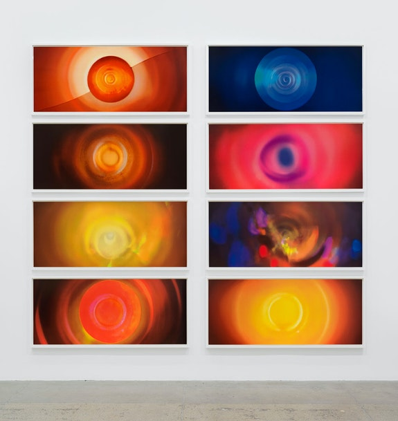 Tacita Dean, <em>Paradise</em>, 2021. 19 color screenprint with a satin seal varnish on Somerset Satin Tub 410g.Print: 24 1/4 x 57 1/8 in. (each) Frame: 26 1/2 x 59 1/2 x 2 in. (67.3 x 151.1 x 5.1 cm) (each) Installation view, Marian Goodman Gallery, New York, 2021. Courtesy of the artist and Marian Goodman Gallery. Photo: Alex Yudzon. ©: Tacita Dean