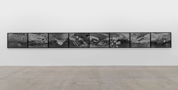 Tacita Dean, <em>Inferno</em>, 20218 photogravures with screenprint on Somerset Paper: 33 1/2 x 46 1/4 in. (85.1 x 117.5 cm) (each)Frame: 34 1/4 x 36 7/8 x 1 5/8 in. (each)Overall: 35 1/4 x 375 5/8 in. Installation view, Marian Goodman Gallery, New York, 2021. Courtesy the artist and Marian Goodman Gallery. Photo: Alex Yudzon. ©: Tacita Dean