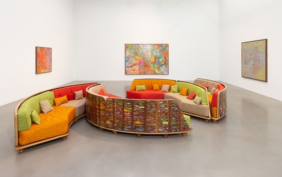 Jorge Pardo, <em>All bets are off</em>, 2021. Installation image. Featuring Jorge Pardo, Sleep Feed, 2020. Parota wood, fabric, acrylic paint. Overall: 32 x 240 x 133 inches. Courtesy the artist and Petzel, New York.