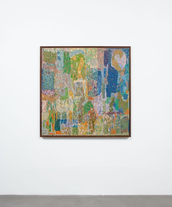 Jorge Pardo, <em>Untitled</em>, 2021. Acrylic on engraved MDF, birch plywood, veneer. 49 ⅛ x 49 ⅛ x 2 ⅛ inches. Courtesy the artist and Petzel, New York.
