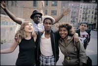 Debbie Harry, Fab 5 Freddy, Grandmaster Flash, Chris Stein, and unidentified woman. Photo by Charlie Ahearn, courtesy of the photographer and the Museum of the City of New York.