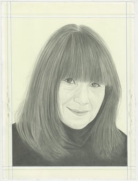 Portrait of RoseLee Goldberg, pencil on paper by Phong H. Bui.