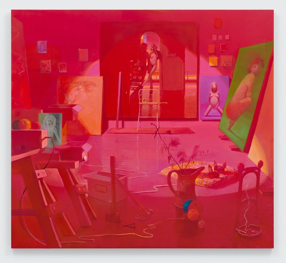 Lisa Yuskavage, <em>Pink Studio (Rendezvous)</em>, 2021. © Lisa Yuskavage. Courtesy the artist and David Zwirner.
