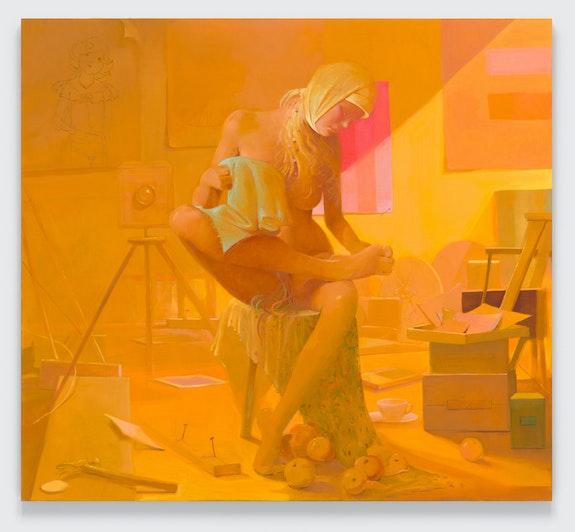 Lisa Yuskavage, <em>Yellow Studio</em>, 2021. © Lisa Yuskavage. Courtesy the artist and David Zwirner.