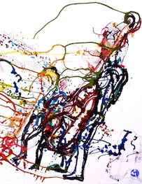 """Climb is the right side detail of Cue Climb, Jane Ira Bloom and Mark Dresser live at CUE on 21 December 2007, original color art 30 x 45"""""""