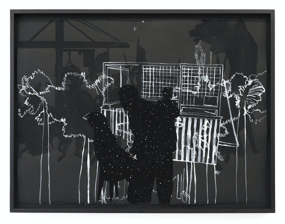 Alex Callender, <em>What Trace, What Settler, What Hunger, What Sky</em>, 2021. Graphite pencil, white pen on paper, 22 x 30 x 2 inches. Courtesy Rubber Factory.