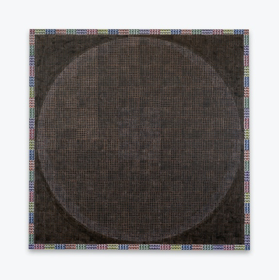 McArthur Binion, <em>Modern:Ancient:Brown</em>, 2021. Ink, oil paint stick, and paper on board, 84 x 84 x 2 inches. Courtesy the artist and Lehmann Maupin, New York, Hong Kong, Seoul, and London.