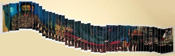 Lucas Samaras,<em> Panorama</em>, 1983. Polaroid Polacolor II assemblage, 50 3/4 x 16 1/4 inches overall. © Lucas Samaras. Courtesy Pace Gallery.