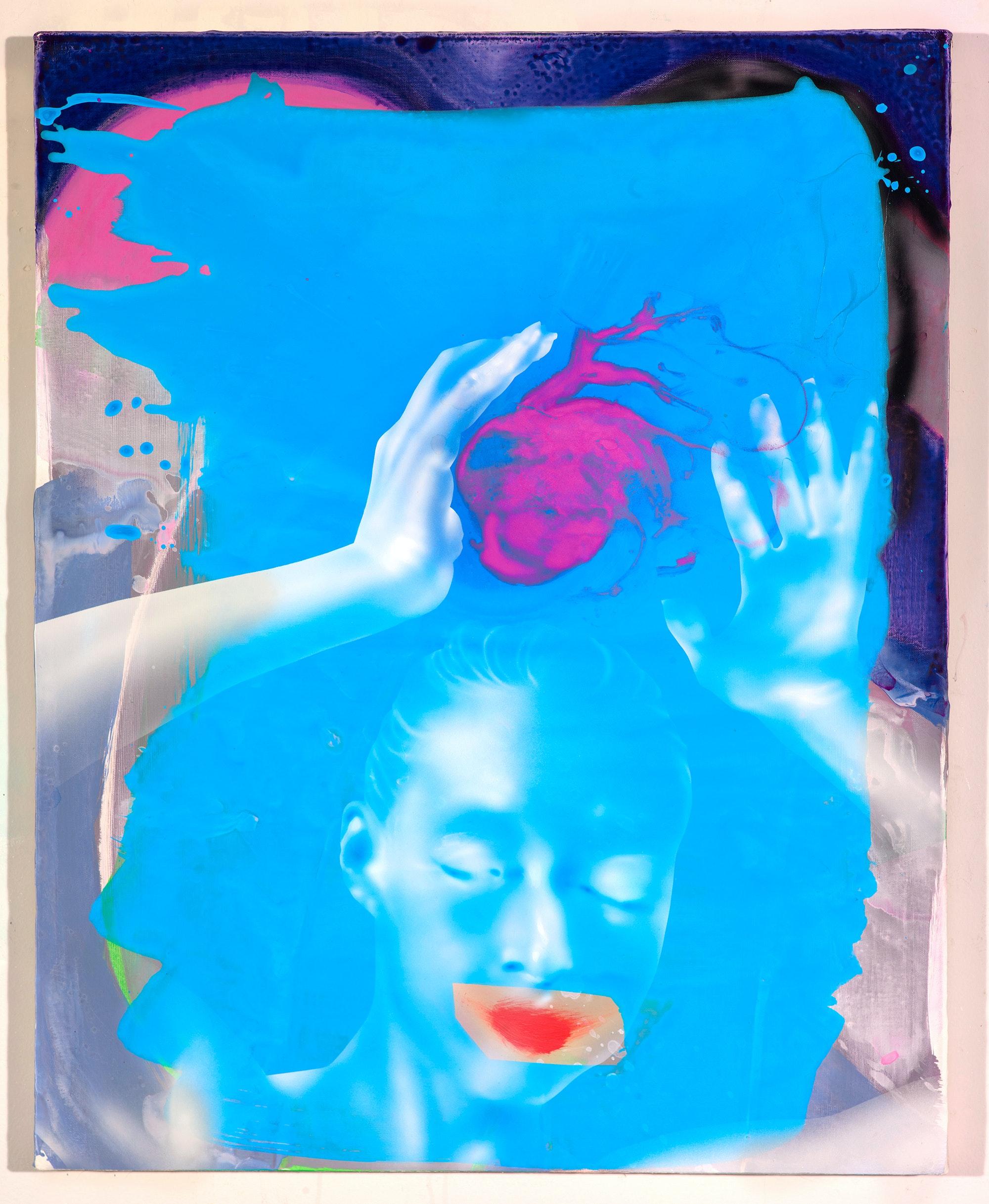 Emilie Stark-Menneg, <em>Heart Wash</em>, 2021. Acrylic and oil on canvas, 30 x 24 inches. Courtesy Steven Harvey Fine Art Projects.
