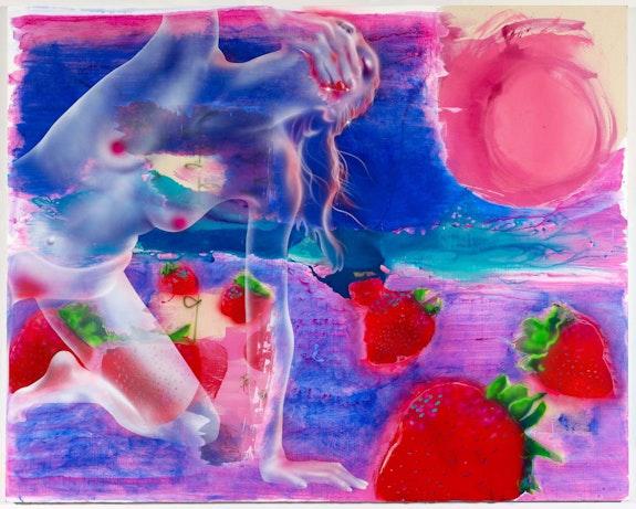 Emilie Stark-Menneg,<em> Strawberry Moon</em>, 2021. Acrylic on canvas, 80 x 100 inches. Courtesy Morgan Lehman Gallery.