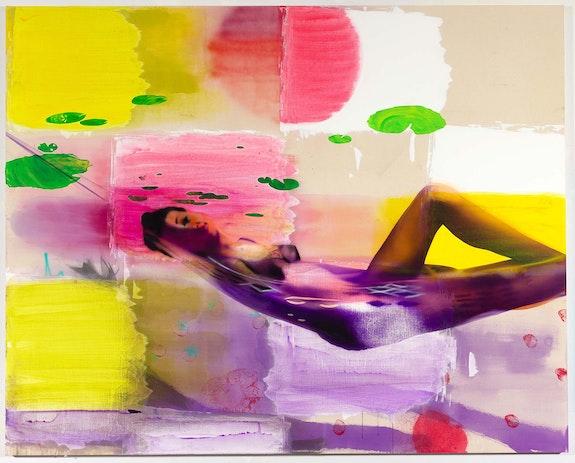 Emilie Stark-Menneg, <em>Lyrae</em>, 2021. Acrylic on canvas, 80 x 100 inches. Courtesy Morgan Lehman Gallery.