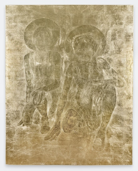 Stacy Lynn Waddell, <em>THE TWO OF US CROUCHING DOWN WITH HALOS AS HATS (for M.S.)</em>, 1973/2021. Composition gold leaf on canvas, 60 x 48 inches. Courtesy the artist and CANDICE MADEY, New York. Photo: Kunning Huang.