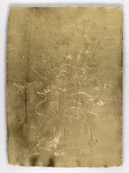 Stacy Lynn Waddell, <em>Untitled (Floral Relief 1665)</em>, 2021. 22 karat gold leaf on paper, 30 x 22 inches. Courtesy the artist and CANDICE MADEY, New York. Photo: Christopher Ciccone Photography.