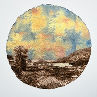 Stacy Lynn Waddell, <em>Landscape with Rainbow After a Celestial Explosion (for R. S.D.)</em>, 1859/2021. Burned handmade paper with blue pencil, variegated metal and composition gold leaf, 16 inches diameter. Courtesy the artist and CANDICE MADEY, New York. Photo: Christopher Ciccone Photography.