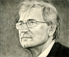 Portrait of Orhan Pamuk. Pencil on paper by Phong Bui,
