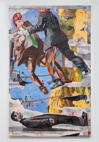 Nicky Nodjoumi, <em>We the Witnesses</em>, 2021. Oil on canvas, 96 x 60 inches. Courtesy the artist and Helena Anrather, New York. Photo: Daniel Terna.