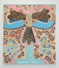 Tamara Gonzales, <em>Hawk Moth</em>, 2021. Acrylic, pastel, spray paint, fabric, sequins, and glitter on canvas 85 x 74 inches. Courtesy the artist and Klaus von Nichtssagend Gallery.