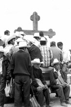 In 1996, indigenous men gather in San Cristobal de las Casas waiting for the conclusion of the 3rd Reunion EZLN-CONAI-COCOPA where a new law protecting indigenous rights was expected to be drawn up.(all photos by Mara Catalan)