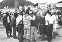 Zapatistas gather in San Cristobal de las Casas to protest abusive human rights violations against indigenous and Zapatista people of the North and South regions, Chiapas 1996.