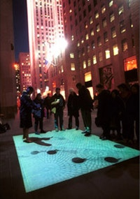 Pedestrian projected onto the Rockefeller Center plaza. Photo courtesy of the artists.