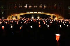February 18, 2008 - Thousands gather on the mall under Torgerson Bridge to remember students lost in the shootings at NIU the week before. <i>Photo by Kevin Cupp. </i>