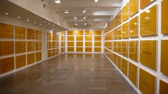 Daniel Joseph Martinez, Divine Violence, 2007 (installation view, The Project, New York). Automotive paint on 125 wood panels, 24 x 36 in. each, overall dimensions variable. Courtesy of the Artist and The Project, New York