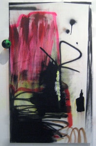 "Wendy White, ""Block from Smack,"" (2007). Acrylic and spray paint on canvas, metal, foam. 63 x 36 in."