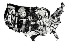 <i>American Rodeo</i>,  2007, Ink on Paper, 18 x 22.5 inches